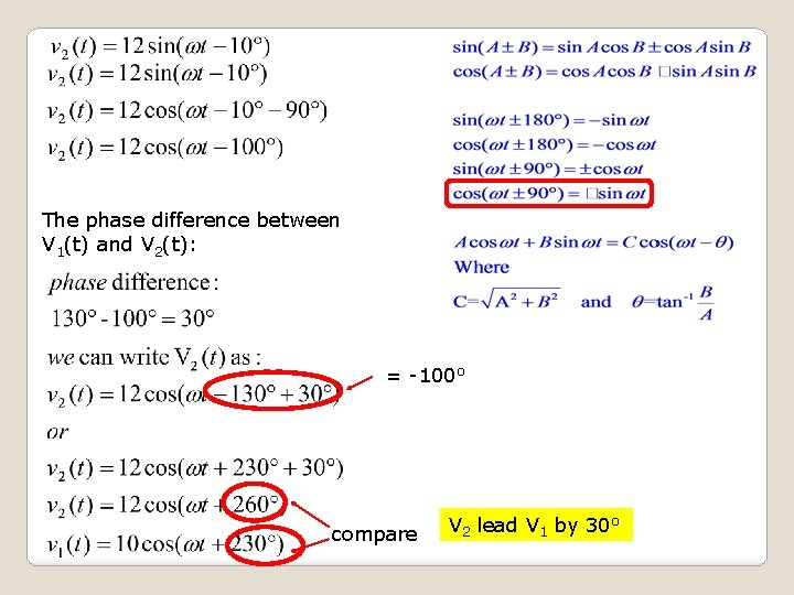 The phase difference between V 1(t) and V 2(t): = -100 o compare V