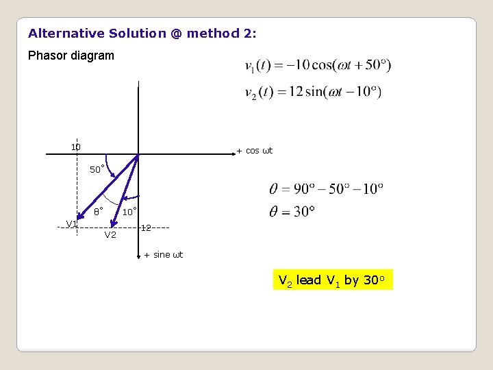 Alternative Solution @ method 2: Phasor diagram 10 + cos ωt 50˚ 10˚ θ˚
