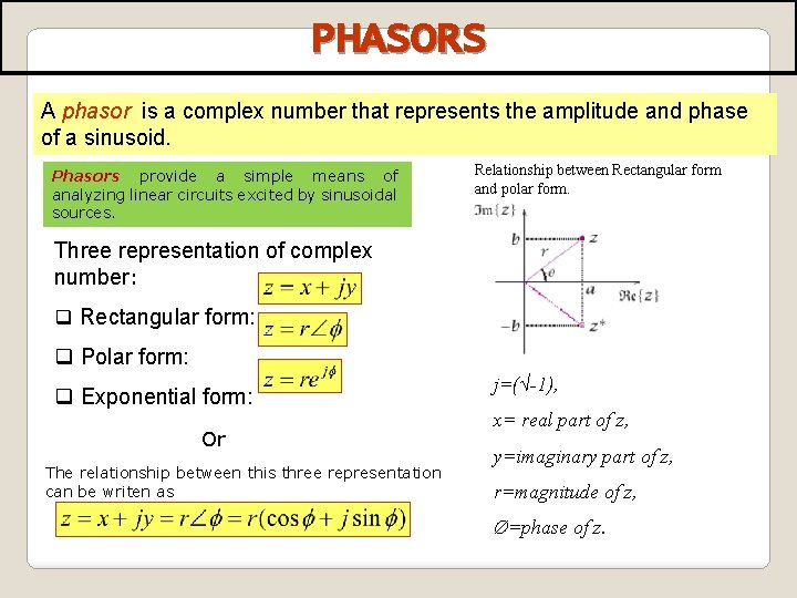 PHASORS A phasor is a complex number that represents the amplitude and phase of