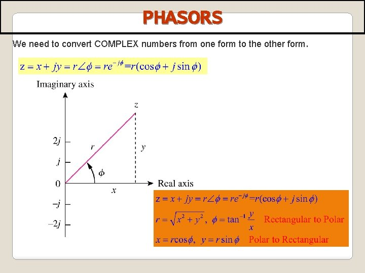 PHASORS We need to convert COMPLEX numbers from one form to the other form.