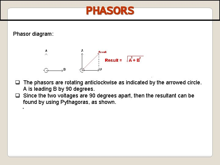 PHASORS Phasor diagram: q The phasors are rotating anticlockwise as indicated by the arrowed