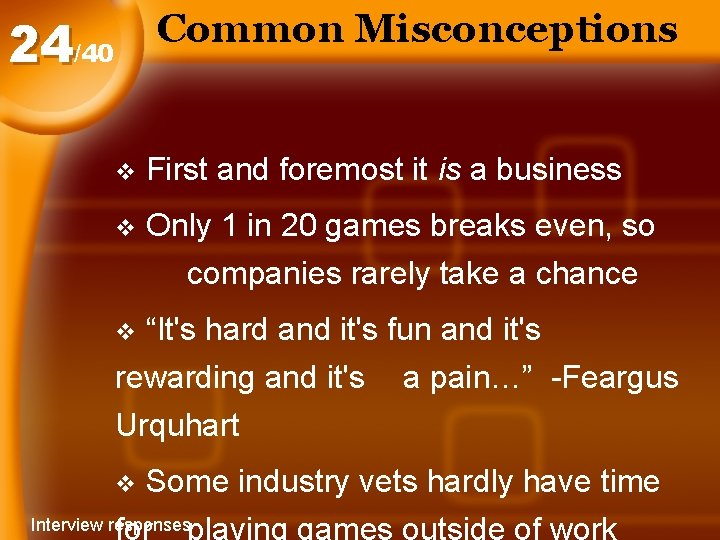 Common Misconceptions 24/40 v First and foremost it is a business v Only 1
