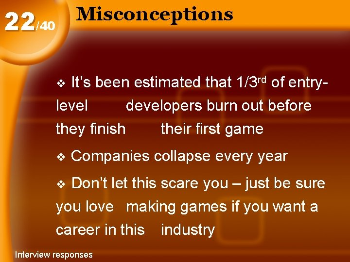 Misconceptions 22/40 It's been estimated that 1/3 rd of entrylevel developers burn out before