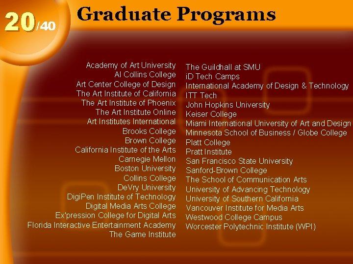 20/40 Graduate Programs Academy of Art University Al Collins College Art Center College of