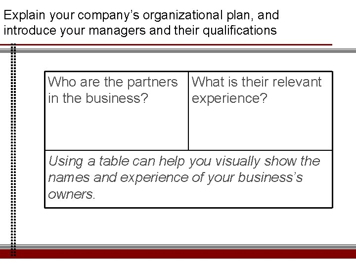 Explain your company's organizational plan, and introduce your managers and their qualifications Who are