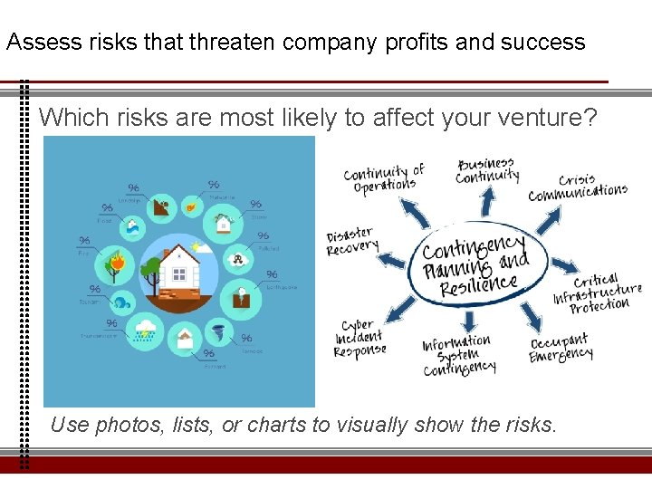 Assess risks that threaten company profits and success Which risks are most likely to