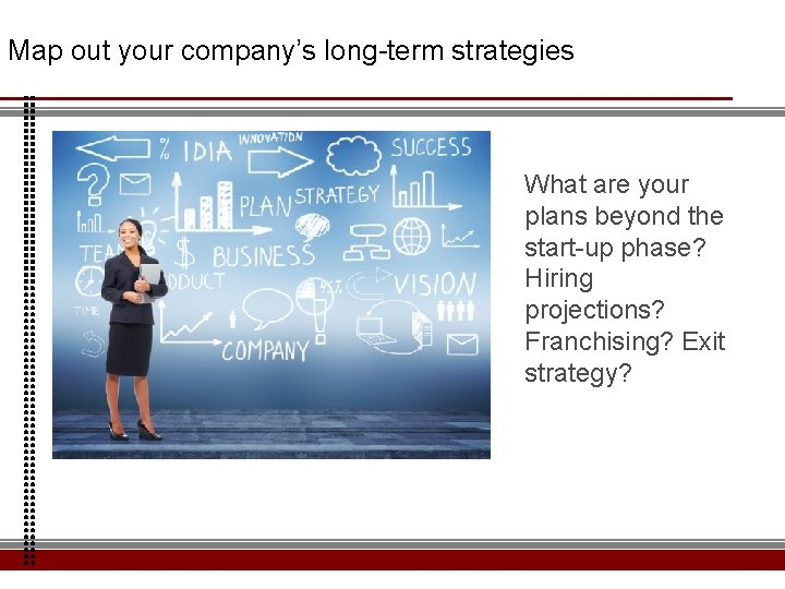 Map out your company's long-term strategies What are your plans beyond the start-up phase?