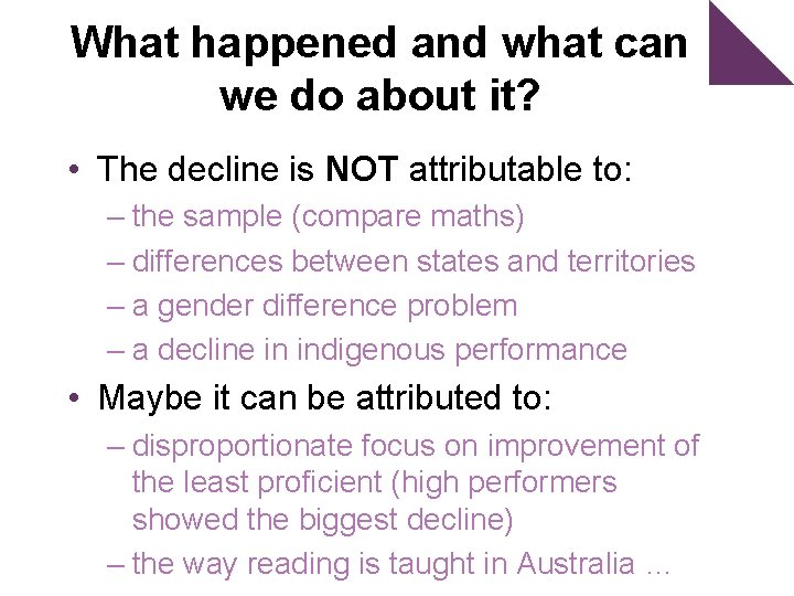 What happened and what can we do about it? • The decline is NOT