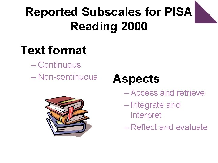 Reported Subscales for PISA Reading 2000 Text format – Continuous – Non-continuous Aspects –