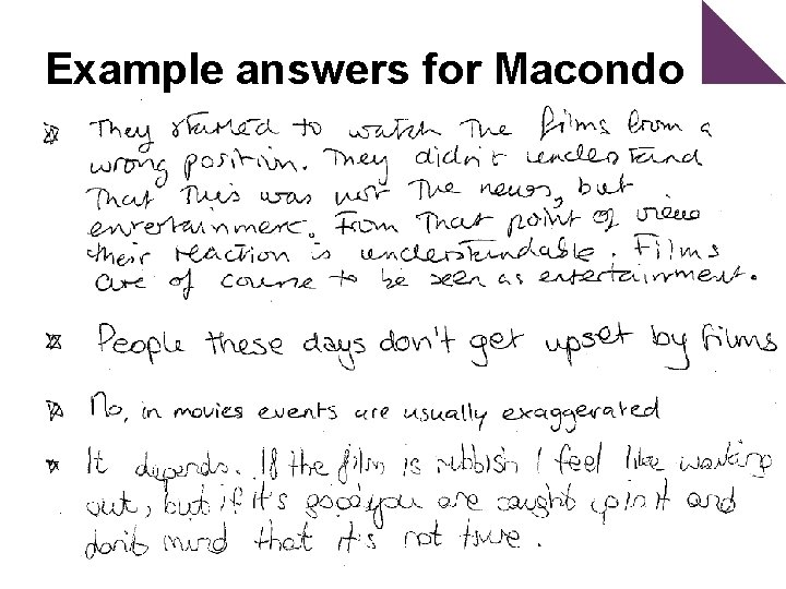 Example answers for Macondo