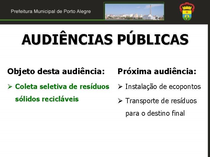 AUDIÊNCIAS PÚBLICAS Objeto desta audiência: Próxima audiência: Ø Coleta seletiva de resíduos Ø Instalação