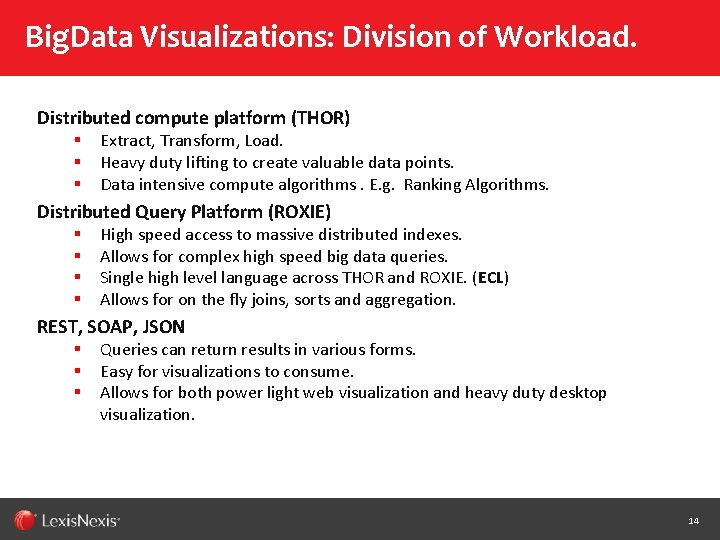 Big. Data Visualizations: Division of Workload. Distributed compute platform (THOR) § § § Extract,