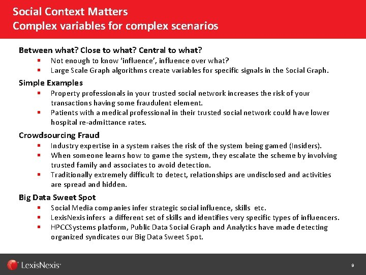 Social Context Matters Complex variables for complex scenarios Between what? Close to what? Central