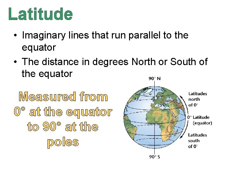 Latitude • Imaginary lines that run parallel to the equator • The distance in