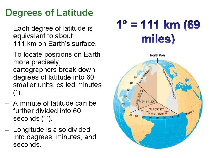 Degrees of Latitude – Each degree of latitude is equivalent to about 111 km