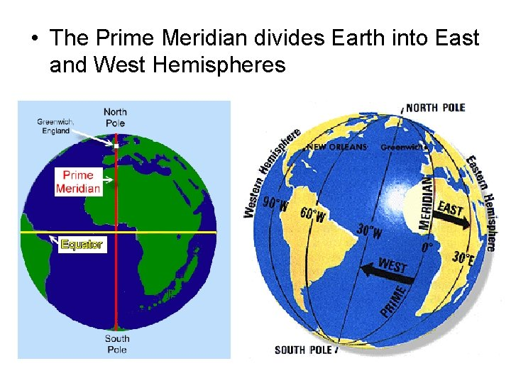 • The Prime Meridian divides Earth into East and West Hemispheres