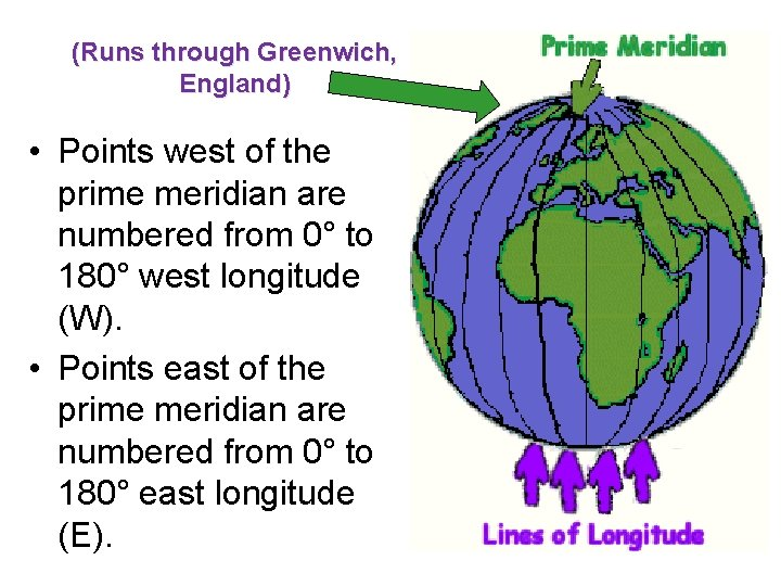 (Runs through Greenwich, England) • Points west of the prime meridian are numbered from