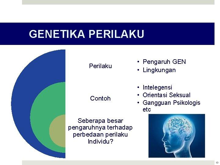 GENETIKA PERILAKU Perilaku • Pengaruh GEN • Lingkungan Contoh • Intelegensi • Orientasi Seksual