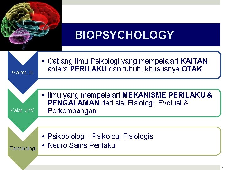 BIOPSYCHOLOGY Garret, B. • Cabang Ilmu Psikologi yang mempelajari KAITAN antara PERILAKU dan tubuh,
