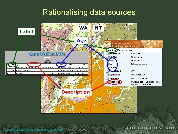 Rationalising data sources Label WA Age Description Life On The Edge - Global Geoscience