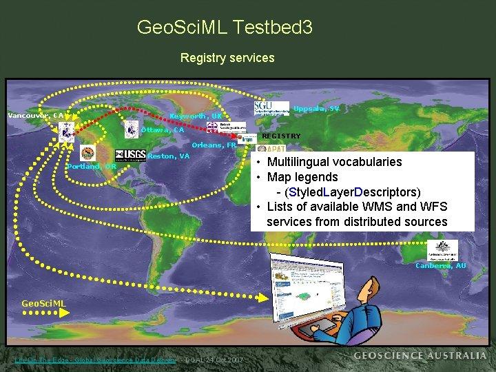 Geo. Sci. ML Testbed 3 Registry services Vancouver, CA Keyworth, UK Ottawa, CA Uppsala,