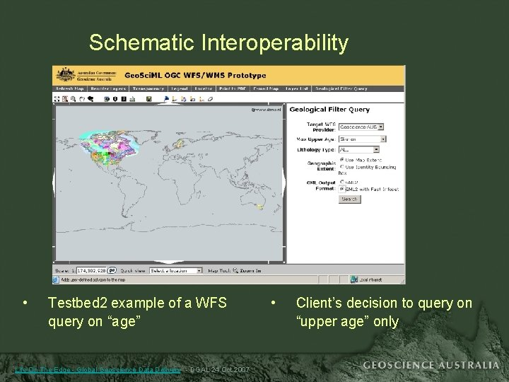 """Schematic Interoperability • Testbed 2 example of a WFS query on """"age"""" Life On"""