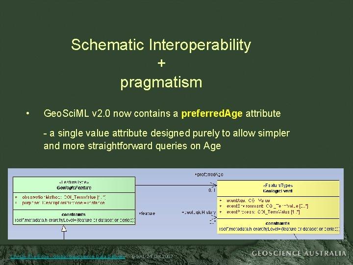 Schematic Interoperability + pragmatism • Geo. Sci. ML v 2. 0 now contains a
