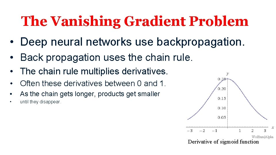 The Vanishing Gradient Problem • Deep neural networks use backpropagation. • Back propagation uses