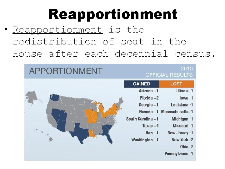 Reapportionment • Reapportionment is the redistribution of seat in the House after each decennial