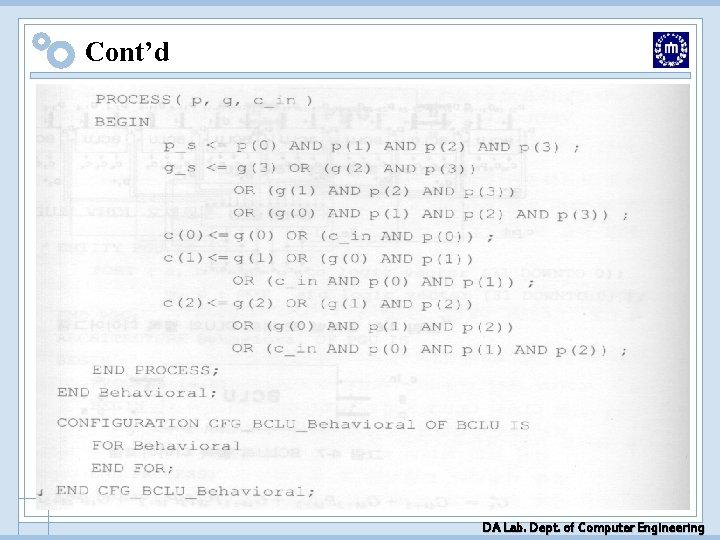 Cont'd DA Lab. Dept. of Computer Engineering