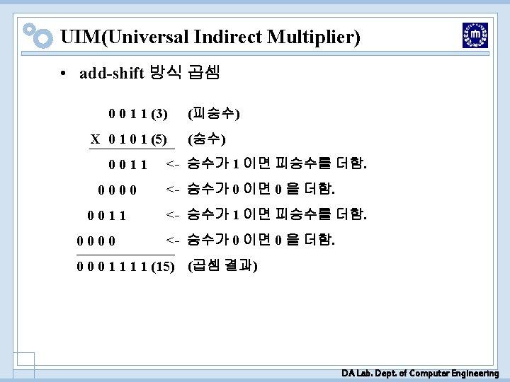 UIM(Universal Indirect Multiplier) • add-shift 방식 곱셈 0 0 1 1 (3) X 0