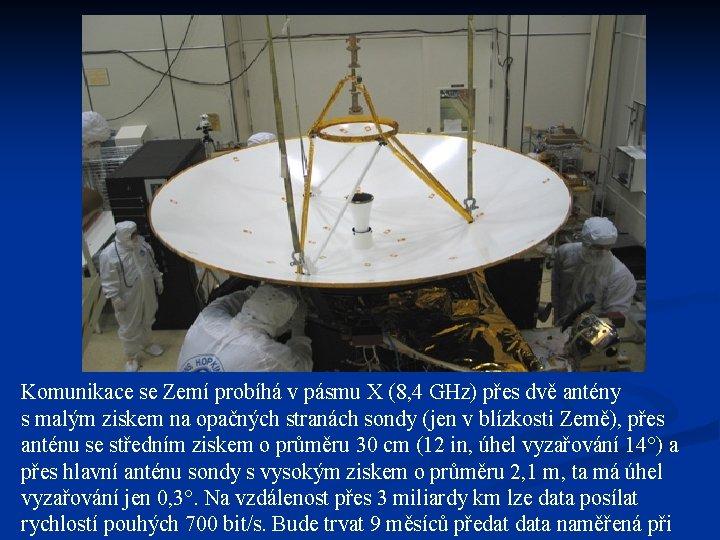 Komunikace se Zemí probíhá v pásmu X (8, 4 GHz) přes dvě antény s