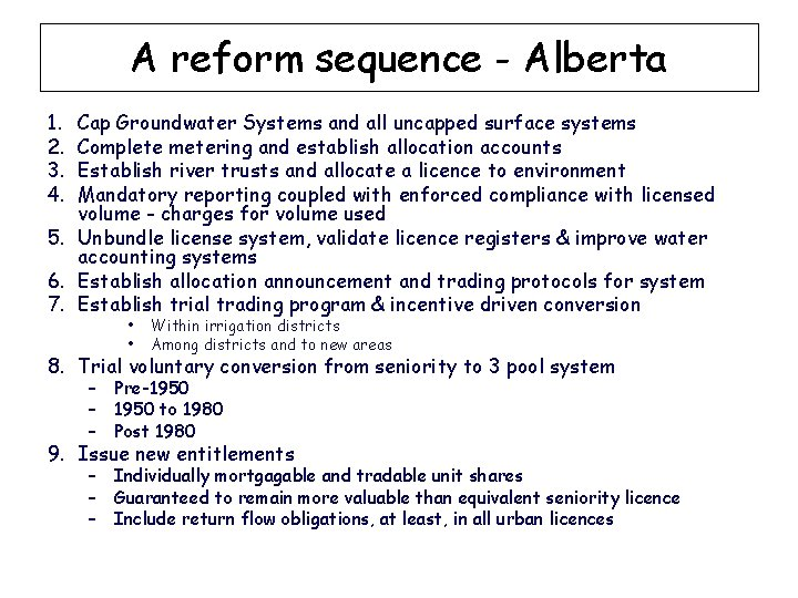 A reform sequence - Alberta 1. 2. 3. 4. Cap Groundwater Systems and all
