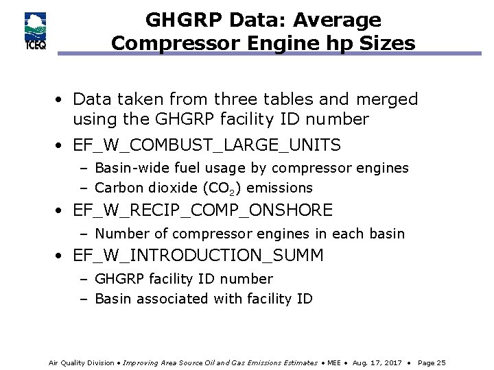 GHGRP Data: Average Compressor Engine hp Sizes • Data taken from three tables and