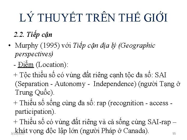 LÝ THUYẾT TRÊN THẾ GIỚI 2. 2. Tiếp cận • Murphy (1995) với Tiếp