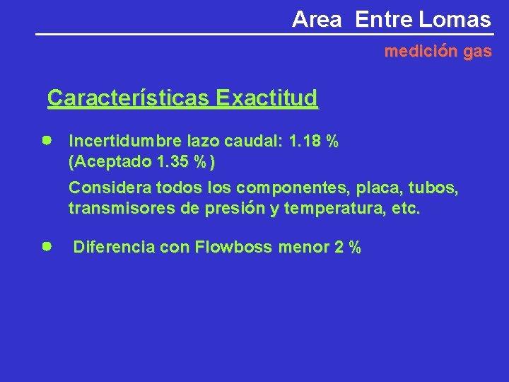 Area Entre Lomas medición gas Características Exactitud Incertidumbre lazo caudal: 1. 18 % (Aceptado
