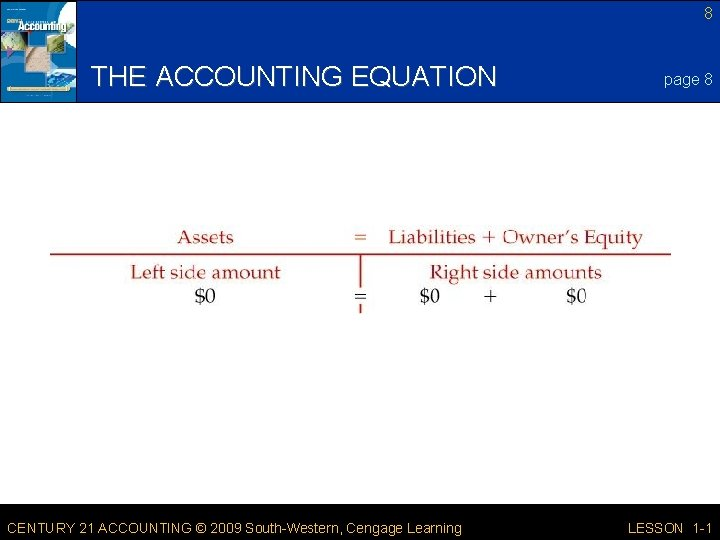 8 THE ACCOUNTING EQUATION CENTURY 21 ACCOUNTING © 2009 South-Western, Cengage Learning page 8
