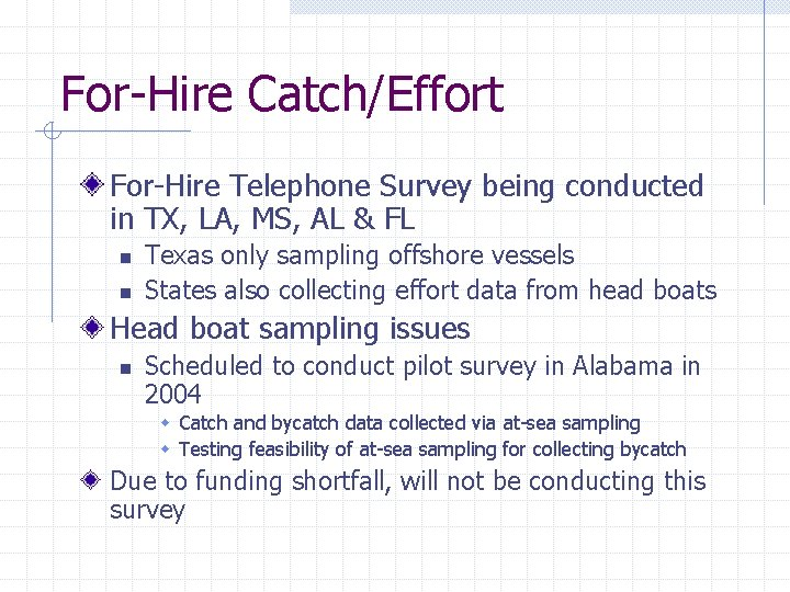 For-Hire Catch/Effort For-Hire Telephone Survey being conducted in TX, LA, MS, AL & FL