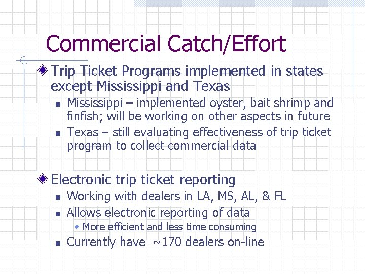 Commercial Catch/Effort Trip Ticket Programs implemented in states except Mississippi and Texas n n