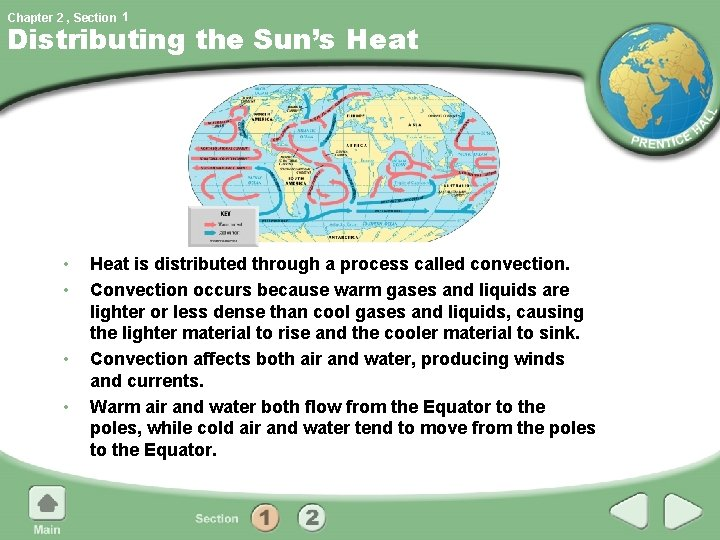 Chapter 2 , Section 1 Distributing the Sun's Heat • • Heat is distributed