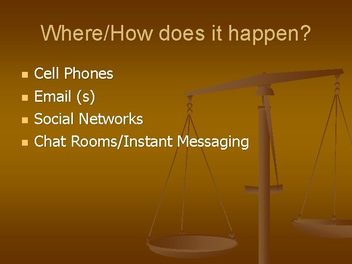 Where/How does it happen? n n Cell Phones Email (s) Social Networks Chat Rooms/Instant