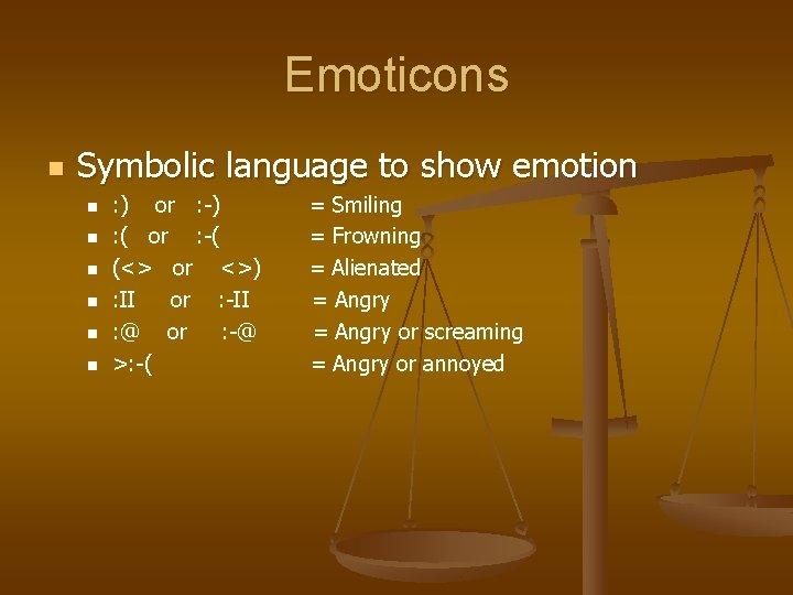 Emoticons n Symbolic language to show emotion n n n : ) or :
