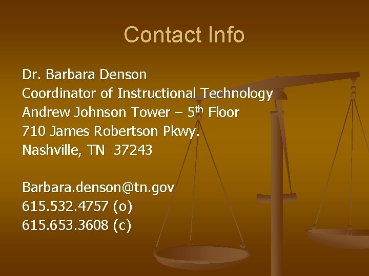 Contact Info Dr. Barbara Denson Coordinator of Instructional Technology Andrew Johnson Tower – 5