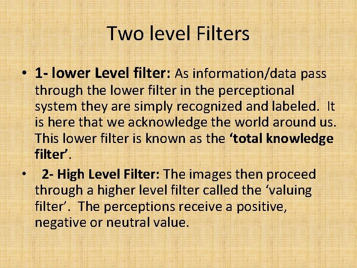 Two level Filters • 1 - lower Level filter: As information/data pass through the