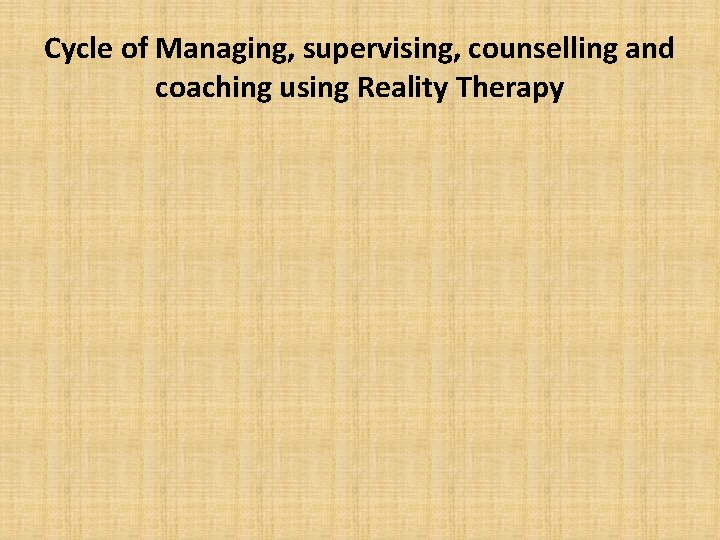 Cycle of Managing, supervising, counselling and coaching using Reality Therapy
