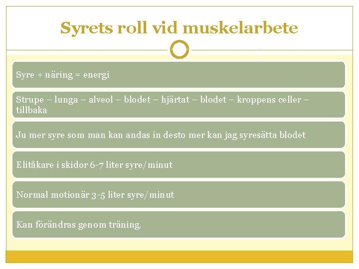 Syrets roll vid muskelarbete Syre + näring = energi Strupe – lunga – alveol