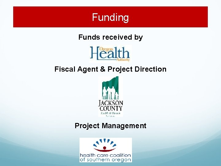 Funding Funds received by Fiscal Agent & Project Direction Project Management