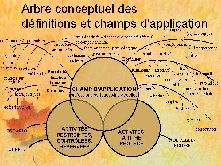 Arbre conceptuel des définitions et champs d'application cognitif amélioration promotion réparation troubles du fonctionnement