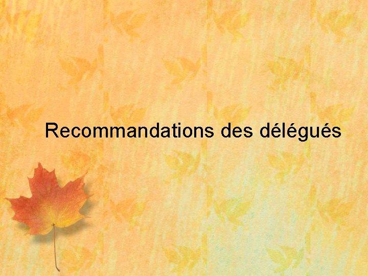 Recommandations des délégués