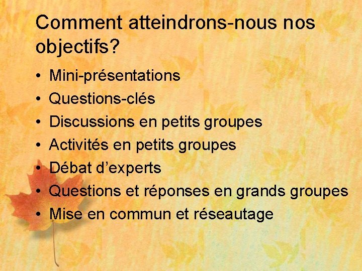 Comment atteindrons-nous nos objectifs? • • Mini-présentations Questions-clés Discussions en petits groupes Activités en
